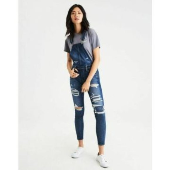 American Eagle Outfitters Denim - NEW American Eagle Dark Distressed Jegging Overall